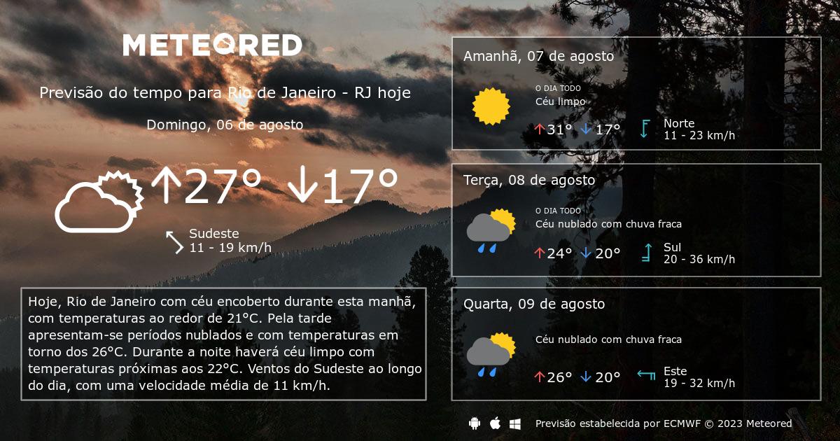Previsão do tempo Rio de Janeiro RJ. 14 dias - tempo.com